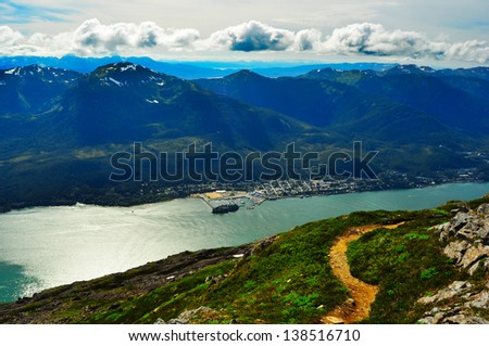 Mount Roberts Juneau Alaska and View of the Gastineau Channel and Douglas Island - stock photo