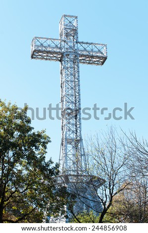 Mount Royal Cross on top of Mount Royal Montreal Quebec Canada - stock photo