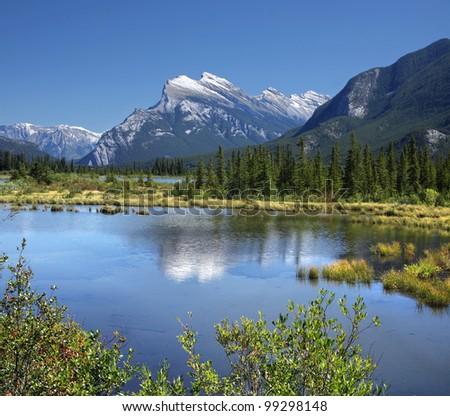 Mount Rundle & Vermilion Lakes Banff, Banff National Park, Alberta, Canada. - stock photo
