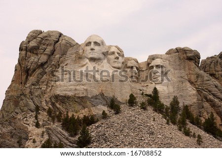 Mount Rushmore from afar - stock photo