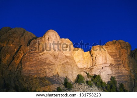 Mount Rushmore monument in South Dakota in the night time - stock photo