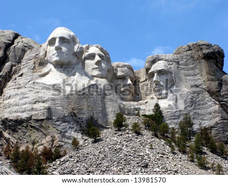 Mount Rushmore National Memorial in South Dakota featuring four famous US presidents - stock photo