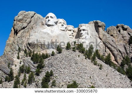 Mount Rushmore National Memorial is located in southwest South Dakota, USA. - stock photo