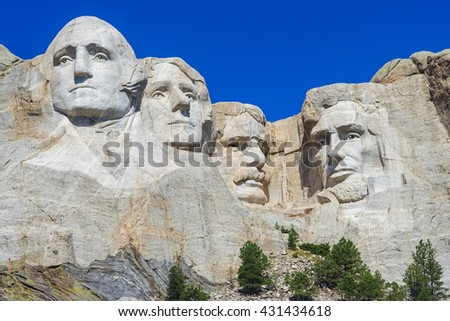Mount Rushmore National Memorial - sculpture with faces of four American Presidents: Washington, Jefferson, Roosevelt, and Lincoln, at Keystone, South Dakota - stock photo