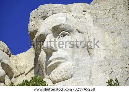Mount Rushmore National Memorial, symbol of America located in the Black Hills, South Dakota, USA - stock photo