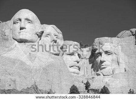 Mount Rushmore National Memorial, symbol of America located in the Black Hills, South Dakota, USA. Image with blue space for added text or for presentations. - stock photo