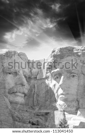 Mount Rushmore National Memorial with dramatic sky - stock photo