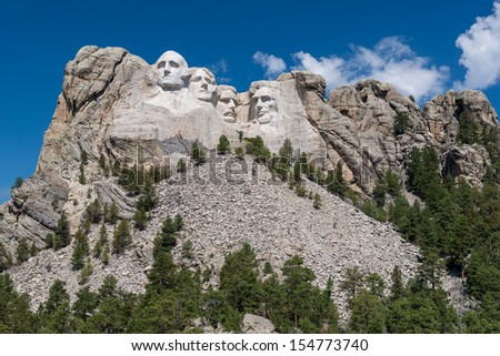 Mount Rushmore National Monument as viewed from the Grand View Terrace near Keystone, South Dakota - stock photo