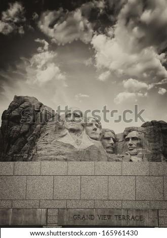 Mount Rushmore - South Dakota. Mountain and Grand View Terrace Wall. - stock photo