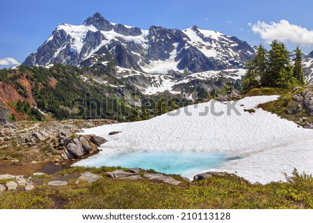 Mount Shuksan Blue Pool Artist Point Mount Baker Highway Snow Mountain Grass Trees - stock photo