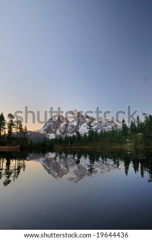 Mount Shuksan from picture lake after sunset on a clear day - stock photo