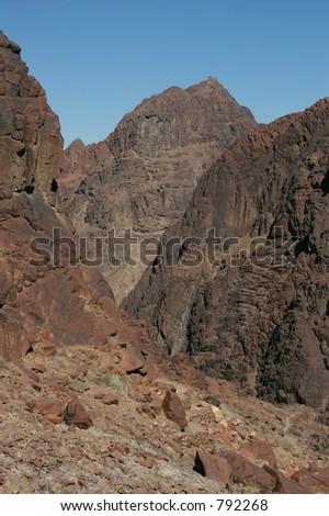 Mount Sinai aka Jebel Musa (2285 m) on Sinai Peninsula, Egypt - stock photo