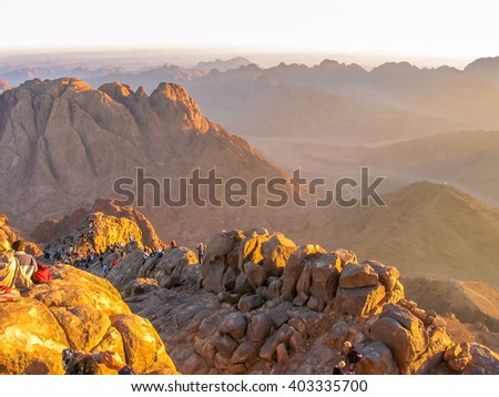 Mount Sinai, Sinai Peninsula, Egypt - October 6,2007: pilgrims waiting for the dawn of the holy summit of Mount Sinai, Aka Jebel Musa, know also as Mount of the Ten Commandments or Mount of Moses. - stock photo