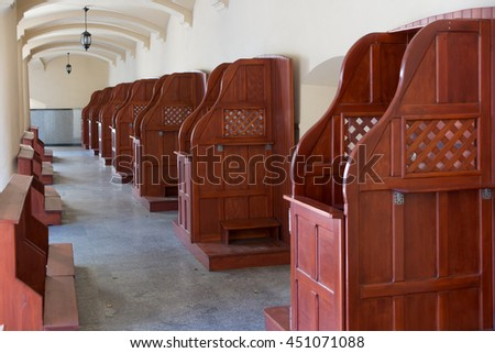 Mount St. Anna, Poland - July 4, 2016: Empty confessionals, a place of repentance and conversion. International Shrine of St. Anne, Mount St. Anna, Poland - stock photo