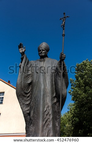 Mount St. Anna, Poland - July 7, 2016: Statue of Pope John Paul II in the Mount St. Anna in Poland. - stock photo