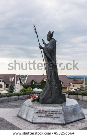 Mount St. Anna, Poland - July 3, 2016: Statue of Pope John Paul II in the Mount St. Anna in Poland. - stock photo