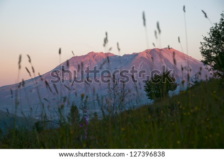 Mount St. Helens at sunset - stock photo