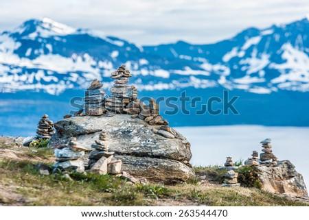 Mount Storsteinen near Tromso city in Tromsoya Island, Norway. - stock photo