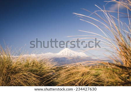 Mount Taranaki the Fuji of New Zealand - stock photo