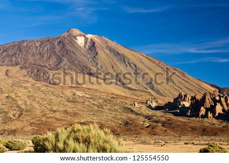 Mount Teide. Highest peak of Tenerife and Spain and third largest volcano in the world after Mauna Loa and Mauna Kea - stock photo