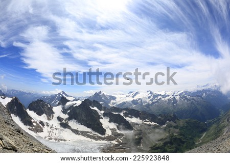 Mount Titlis panorama, taken with fisheye lens - stock photo