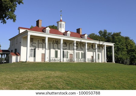 Mount Vernon overlooking the Potomac River at sunrise. - stock photo