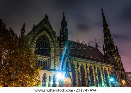 Mount Vernon Place United Methodist Church at night in Baltimore, Maryland.