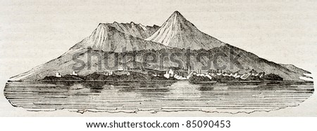 Mount Vesuvius after 79 A.D. eruption. By unidentified author, published on Magasin Pittoresque, Paris, 1840 - stock photo