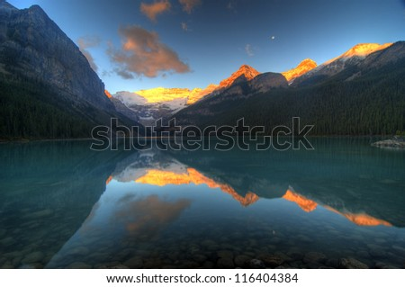 Mount Victoria Glacier Reflection on Lake Louise, Banff, Canadian Rockies