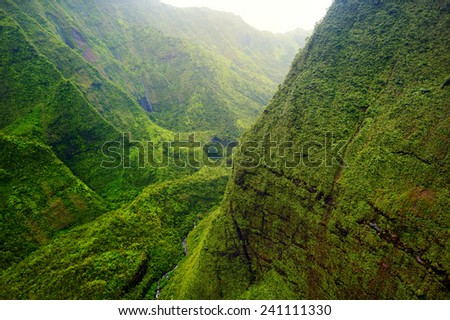 Mount Waialeale known as the wettest spot on Earth, Kauai, Hawaii - stock photo