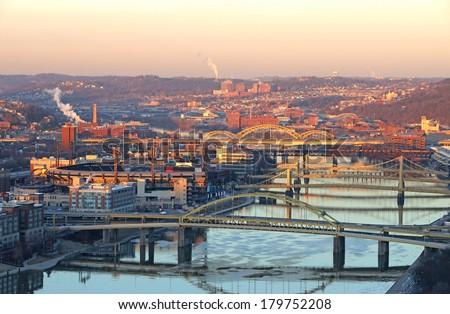 Mount washington viewpoint,The twilight scene of downtown PIttsburgh, Pennsylvania, USA. - stock photo