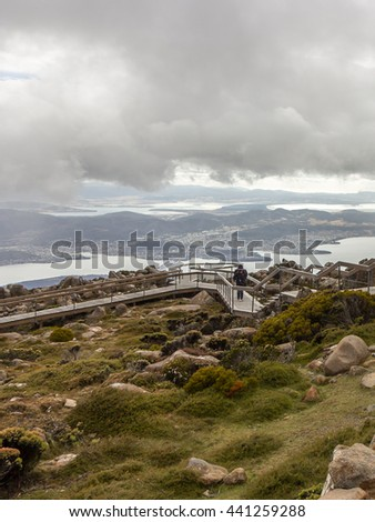 Mount Wellington Observatory in Hobart city equipped lookout for tourists to overlook Hobart Derwent River and the city day time, Tasmania island, Australia.