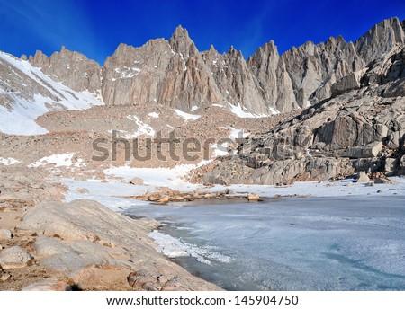 Mount Whitney and Sierra Crest, California - stock photo