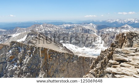 Mount Whitney Summit Scenery. View from the highest peak in the continental United States. - stock photo