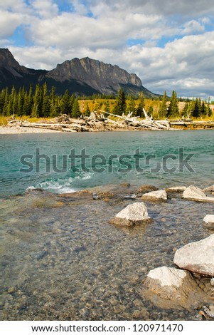 Mount Yamnuska, and the Bow River, Kananaskis Country  Alberta, Canada.