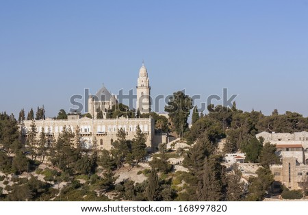Mount Zion and the Abbey of the Dormition - Jerusalem - stock photo