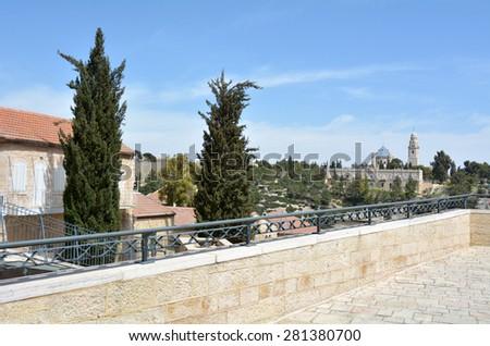 Mount zion as view from Mishkenot Shaananim neighborhood  in Jerusalem, Israel. - stock photo