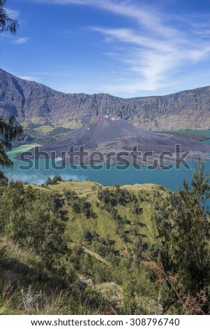 Mounta Barujari and Plawangan Sembalun in Lombok Island, Indonesia. - stock photo