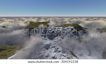 Mountain above the clouds made in 3d software - stock photo