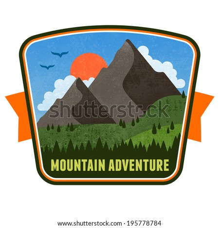 Mountain adventure illustration badge graphic design emblem - stock photo