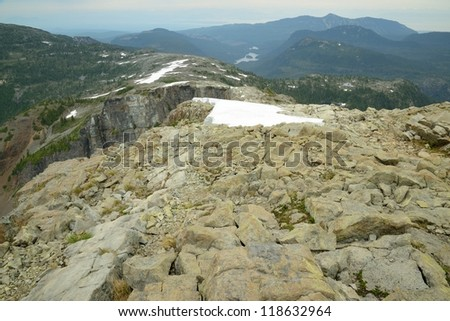 mountain Albert Edward and valley in strathcona provincial park, vancouver island, bc, Canada - stock photo