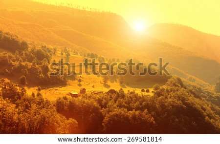 Mountain and green landscape of Montenegro - stock photo