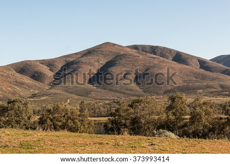 Mountain and lake and trees at Lower Otay Lake in Chula Vista, California - stock photo