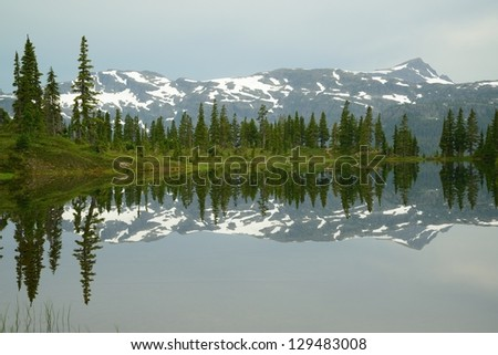 mountain and lake in strathcona provincial park, vancouver island, bc, canada