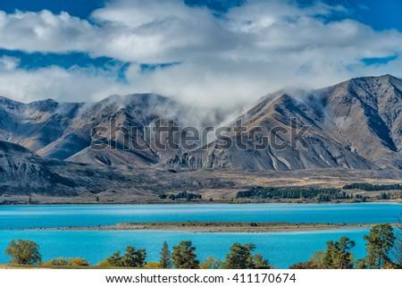 Mountain and lake landscape , Lake Tekapo, New Zealand - stock photo