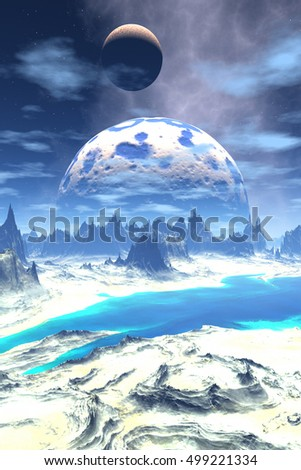 Mountain and  lake. Landscape of stranger planet.  3D  rendering