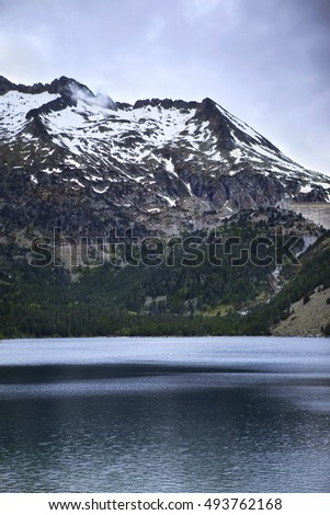 Mountain and lake of Pyrenees in France