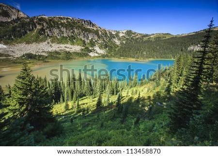 Mountain and Lakes - stock photo