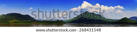 mountain and river panorama background