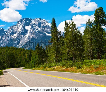 mountain and road - stock photo